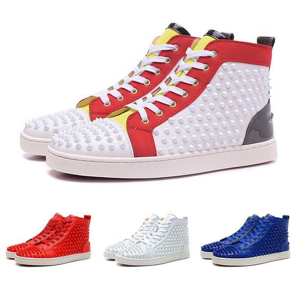 Großhandel Freies Verschiffen Luxus Spikes Toe Sneaker Schuhe Herren Damen Rote Untere Turnschuhe Echtem Leder Wohnungen Mit Outdoor Schuhe Party