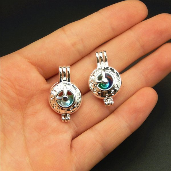 best selling 10pcs Silver Clock Pearl Cage Jewelry Making Supplies Beads Cage Pendant Aroma Essential Oil Diffuser Locket For Oyster Pearl
