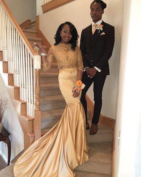 Großhandel 2018 African Prom Kleider 3/4 Langarm Plus Size Formale ...