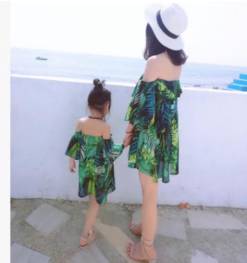 best selling Mother daughter chiffon dress bohemia style girls slash shoulder dress lady falbala dew shoulder beach dress family matching clothing R2907