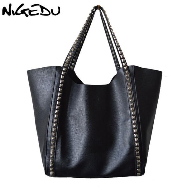 NIGEDU Brand Large capacity women handbag Fashion rivets Women's Shoulder bag female composite bag black Shopping Bag big Totes D18102407