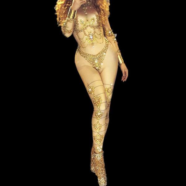 Golden Rhinestones Sparkly Jumpsuit Jazz Body de una sola pieza Cumpleaños Outfit Bar Dj Sexy Club nocturno DS Cantante Rave Clothes DN2009