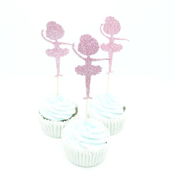 10 pcs Glitter Ballerina Cupcake Toppers Picks Thème de Bande Dessinée Décorations De Fête Baby Shower Enfants Faveurs De Fête D'anniversaire