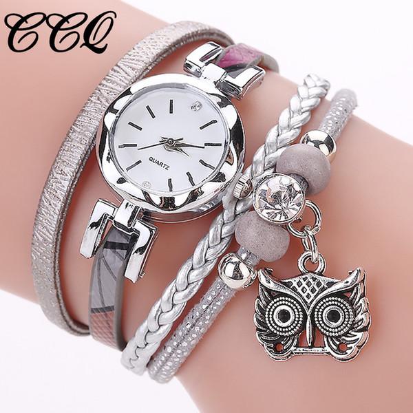 Fashion Women Crystal Bracelet Watches Girls Analog Quartz Owl Pendant Ladies Dress Watches reloj mujer NEW