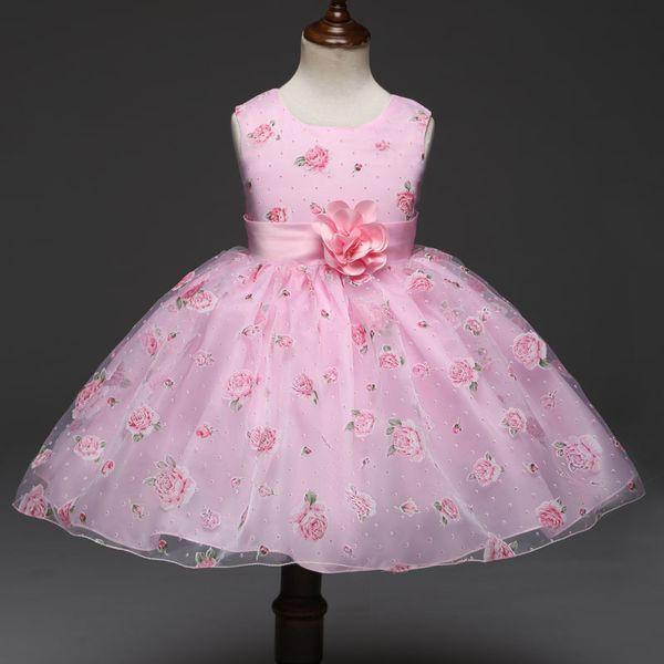 Nouvelle fille robe de fleur imprimer jupe de gaze petite enfant robe jupe anniversaire robe
