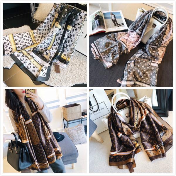 Printemps foulard en soie 2019 Vente Chaude femmes Lettre châle écharpe fashion collier long anneau de cadeau de Noël en gros 180x90cm