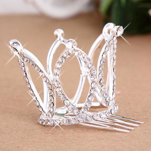 New Mini Girls Rhinestone Crown Clip Bridal Tiara Hair Comb Pin Alloy Comb Crown Princess Hair Accessories