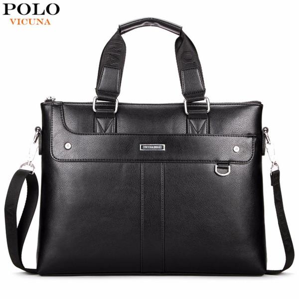 VICUNA POLO Classic Business Man Briefcase Brand Computer Laptop Shoulder Bag Leather Men's Handbag Messenger Bags Men Bag Hot