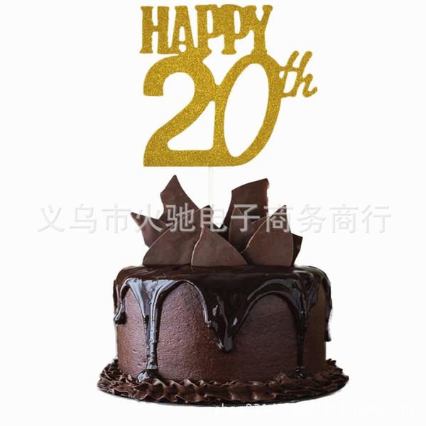 Happy 20th Birthday Cake Topper,Custom Name Cake Topper,20th Unique Topper,Personalized 20th Anniversary Topper