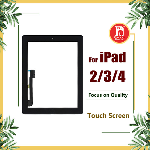 Per iPad 2 3 4 Screen Digitizer Vetro Touch Panel Parti di ricambio di ricambio Assemblaggio con adesivo adesivo Home Button per ipad2 3 4