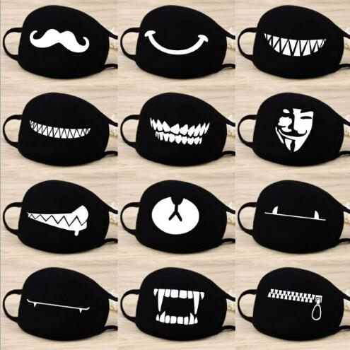 Fashion Cartoon Pattern Solid Black Cotton Face Mask Cute 3D Print Half Face Mouth Muffle Masks Party Masks Outdoor Cycling Mask