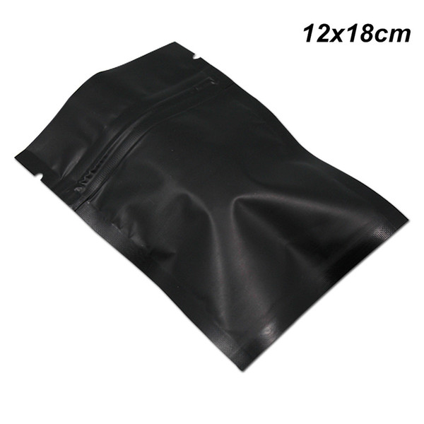 Matte Schwarz 100 STÜCKE 12x18 cm Mylar Folie Aluminium Wiederverschließbare Lebensmittelzubereitung Ausrüstung Reißverschluss Folie Verpackung Beutel mit Risskerben Mylar Tasche
