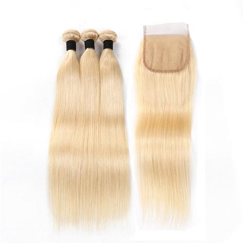 Buy 3 Bundles Get 1 Closure 613 Blonde Straight Human Virgin Hair Bundles With 4*4 Lace Closure Grade 10a