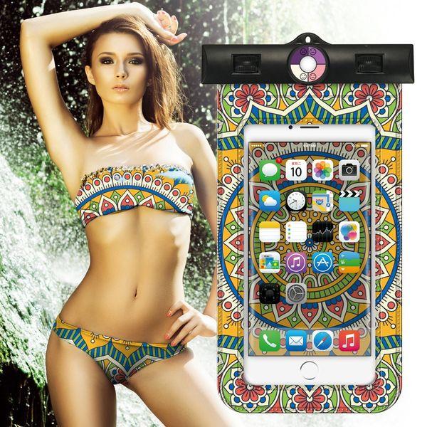 Women Cellphone Waterproof Bag Mandala Painting Mobile Phone Pouch Ultraviolet Sensor Armband Lanyard Universal Phone Cases Free DHL A759