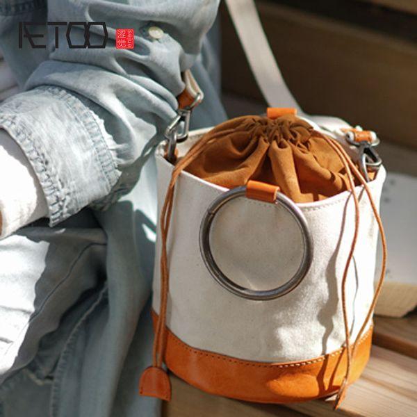 AETOO Manual one-shoulder slanted back bucket bag Ms. Sen DrawString leather cowhide with canvas retro contrast color cylinder