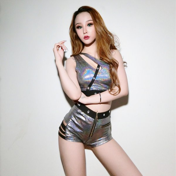 MUXU cropped 2 piece set women silver sequin summer clothes for women glitter bandage shorts two piece set top and pants suit