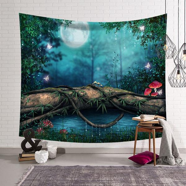 dark forest modern room decor mushroom tapestry polyester fabric wall hanging mural decorative cloth carpet blanket
