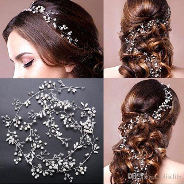 Wedding Bridal Bridesmaid Silver Handmade Rhinestone Pearl Hairband Headband Luxury Hair Accessories Headpiece Fascinating Tiara Gold