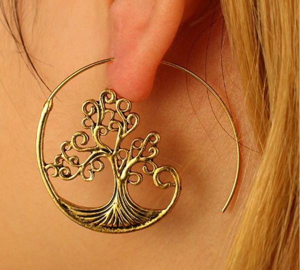 Tree Of Life серег стержня девушки дамы ювелирные аксессуары Античная Позолоченные Женские уха Коты