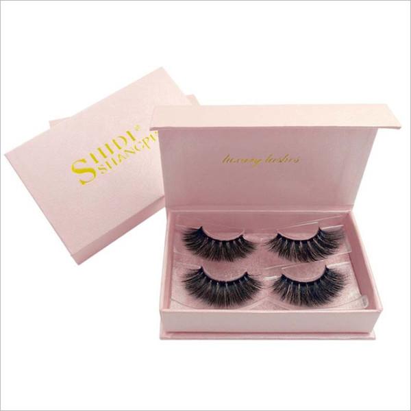 High quality 2pairs/set real mink eyelashes natural long 3d mink lashes hand made false eyelashes PINK box eyelash extension