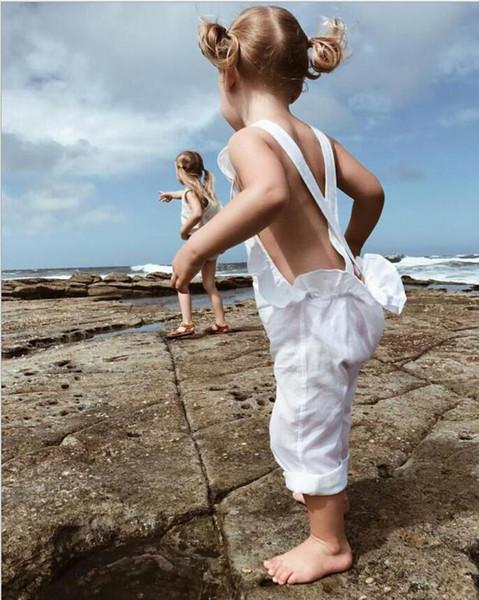 Ins Roupas de Bebê Meninas 100% Algodão Babados Macacões Bebê Sem Encosto Calças Suspender Crianças Moda Calças Criança Roupas de Menina YL331