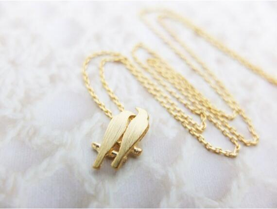 Hot fashion 18k gold plating necklace Love birds necklaces for women wholesale and mixed color free shipping