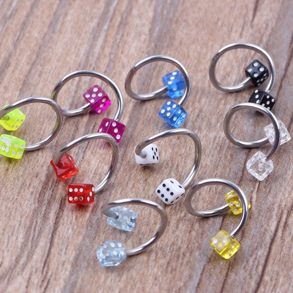 Mix 8 Colors Dice Ball Steel Bar Nose Pin Stud Piercing Jewelry 100pcs/lot Fake Sepum Nose Rings Body jewelry