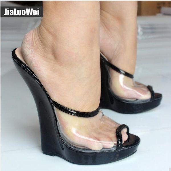 Women Sandals Wedges Fashion Sexy Transparent 18cm High Heels Wedge Platform Pumps Peep Toe Slip-On Summer Shoes for Man Stage show slides
