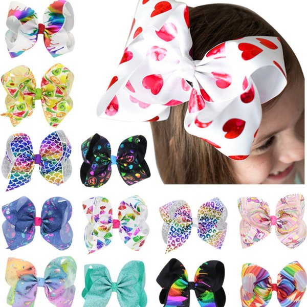 Kids Girls Big Solid Ribbon Hair JOJO Bow Clips With Large Hairpins Boutique Hairclips 8 Inch 13 Colorful Hair Accessories JLE149