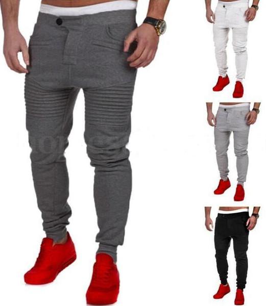 New Mens Pants Designer Harem Joggers Sweat pants Elastic Cuff Drop Crotch Biker Joggers Pants For Men Black Gray Dark Grey White