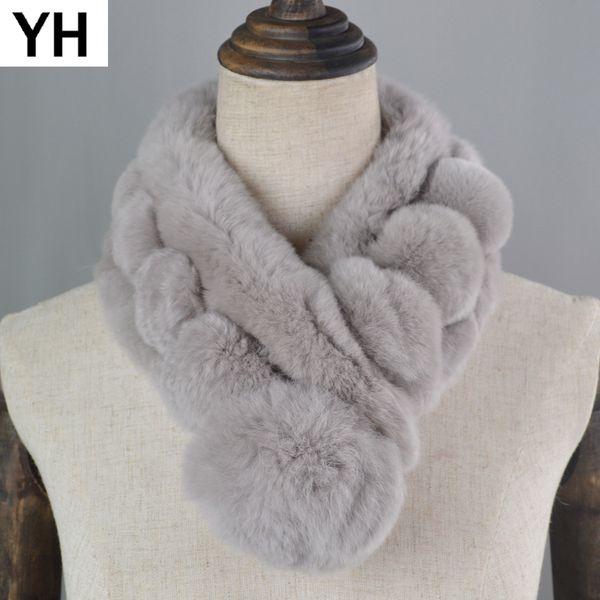 2018 New Style Real Natural Rex Rabbit Fur Scarf Women Winter Rex Rabbit Fur Ring Scarf Russia Real Scarves Shawl