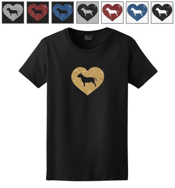 Bull Terrier Glitter Heart T-Shirt - Hombre Mujer Mujer Mujer Juventud Niños Largo