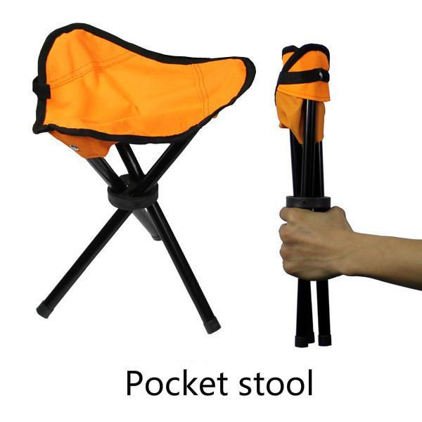 Portable chair Pocket stool Fishing Camping Furniture 22x22x31cm Convenient Folding Stools fishing Cushion 3 colors Three feet Folding Chair