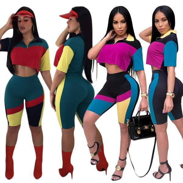 Women Sexy Multicolor Short Sleeve Tracksuits Color Blocked Print Crop Top and Short Capris Set Sports Club Two Piece Pant Suits Outfits Set