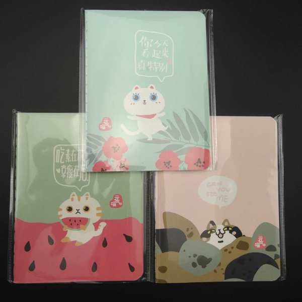 3pcs/lot small size notebook blank inner page portable 91*120mm 24 sheets lovely cartoon cat style notepad paper stationery