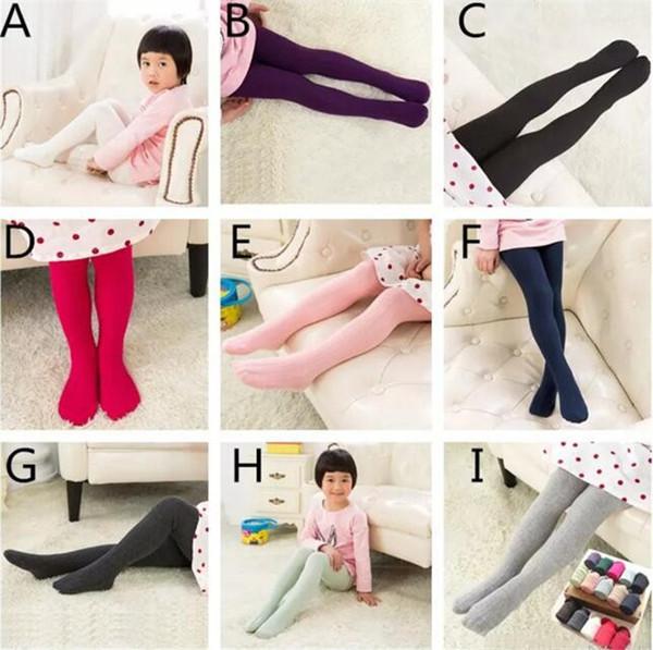 Multicolor Girls cotton solid colors leggings 2-12T kids jacquard pantyhose 11 colors 4 sizes children spring autumn tights A08