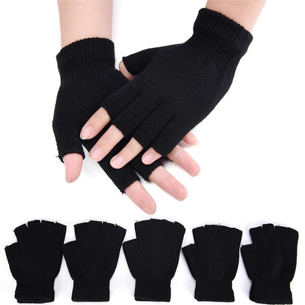 18 CM Wool Knit Wrist Glove Black Short Half Finger Fingerless Winter Warm Workout For Women And Men