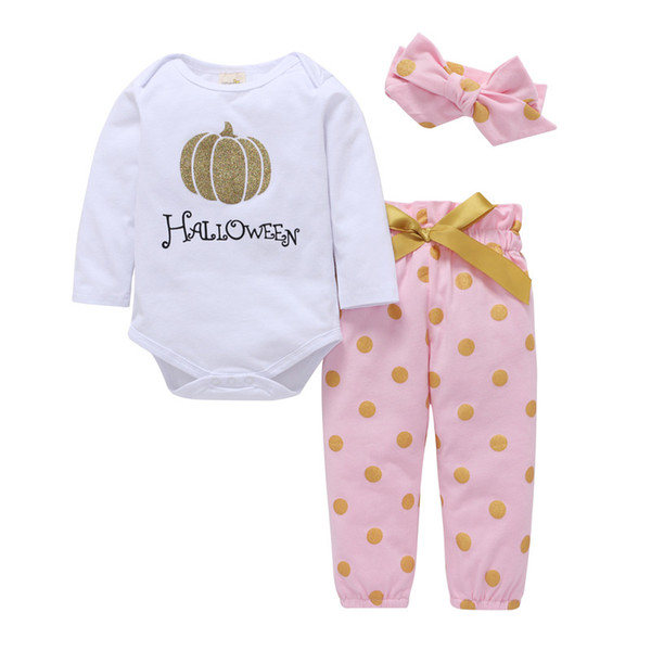 Baby girls Halloween pumpkin outfits kids bow wave point Christmas tree print headband+romper+pants 3pcs/set children cotton suits