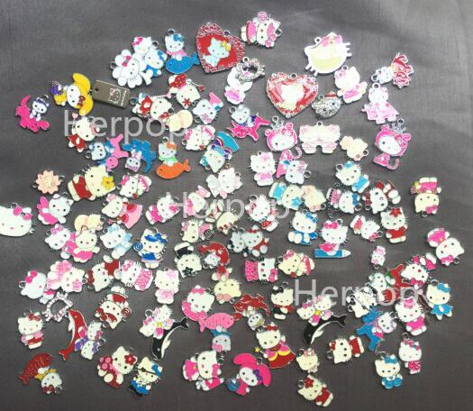 mix Anime Cartoon Hello kitty cat Enamel Metal Charm Pendants DIY Jewelry Making Mobile Phone Accessories