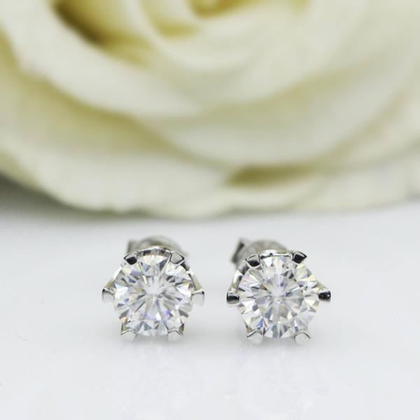 Genuine14K 585 Oro blanco Push Back 1Carat ctw Test Positive Lab Grown Moissanite Diamante Pendientes para mujeres