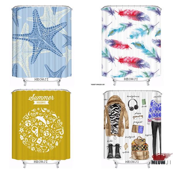 La moda de la pluma de las estrellas de mar aduana cortina de la ducha decoración del cuarto de baño diversos tamaños libera el envío