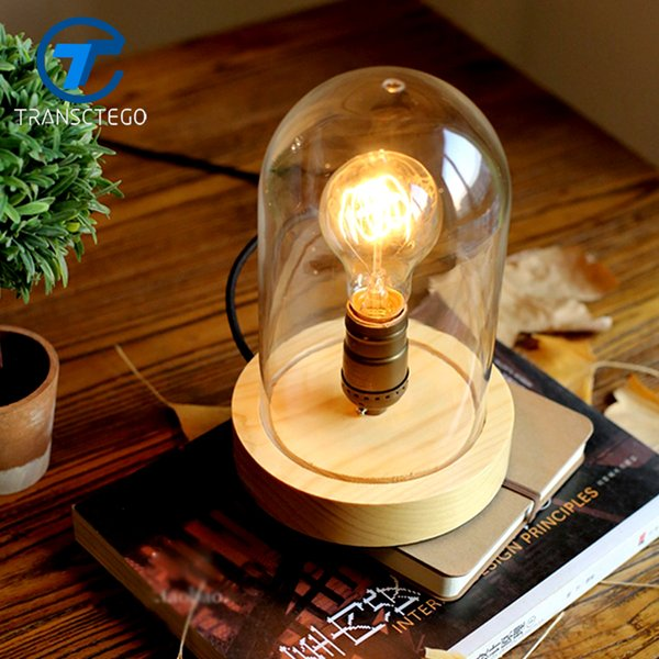 Vintage style glass lampshade table lamp rubber wood desk lights booklight solid wood edison desk lamp