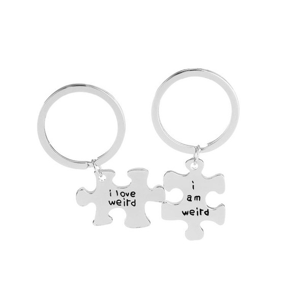 2 Pcs Couples Gift Alloy I love weird I am weird Letter Puzzle DogTag Keychain KeyRing Christmas Gift