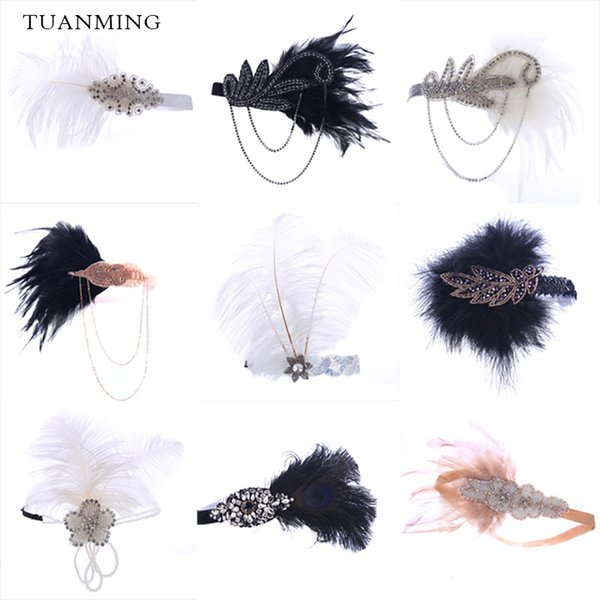 Fashion Black White Feather Hair Jewelry Beaded Sequin Rhinestone Hair Band 1920s Gatsby Headpiece Women Headband Accessories S918