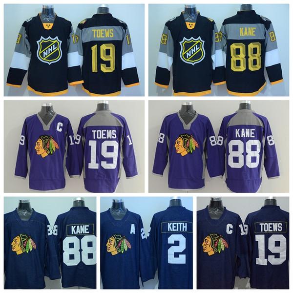 Chicago Blackhawks Camisetas 19 Jonathan Toews 88 Patrick Kane 2 Camisetas  de hockey Duncan Keith Púrpura f36fac640e972