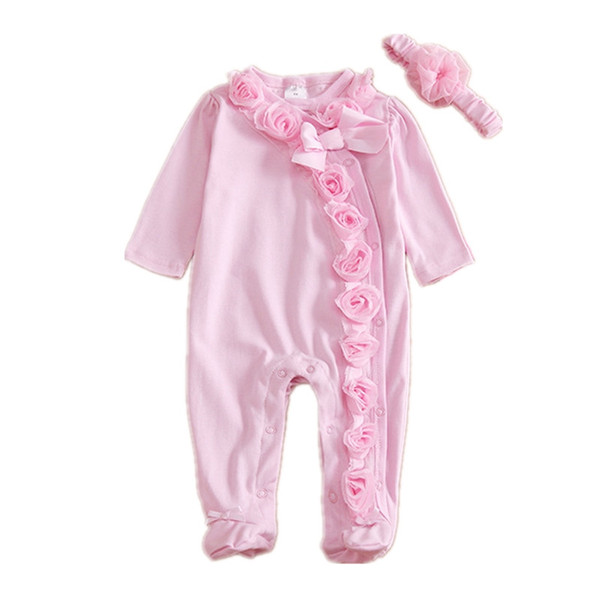 Neugeborenes Baby Mädchen Kleidung 3D Floral Langarm Fuß Abdeckung Baby Onesies Baumwolle Rosa Overall Infant Mädchen Kleidung mit Stirnband Schmetterling Bogen