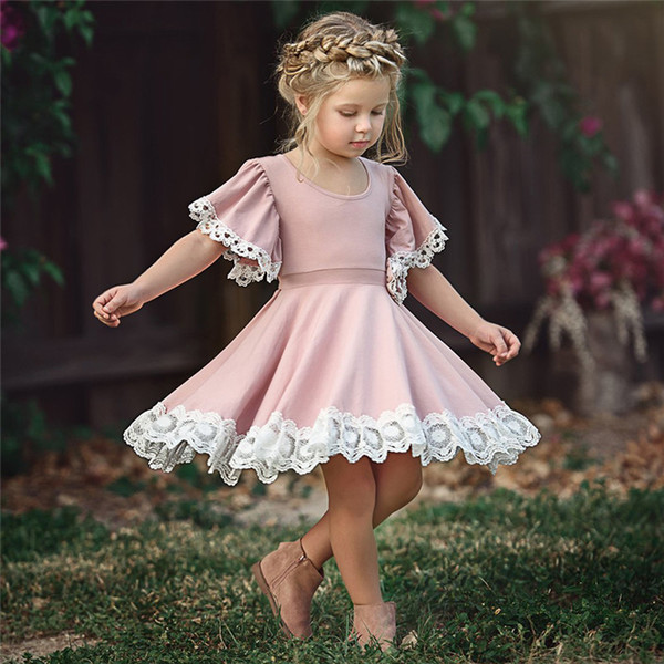 Chic Flower Dresses for Baby Girl Children Dresses Pretty Lace Princess Dress Cotton Blend Short Sleeve Dress Sweet Pink