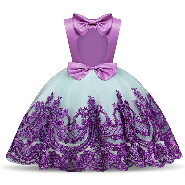 Purple Embroidery Floral Ball Gown for Baby Girl Birthday Dress Toddler Girl Formal Events Clothing Kids Halloween Party Dresses