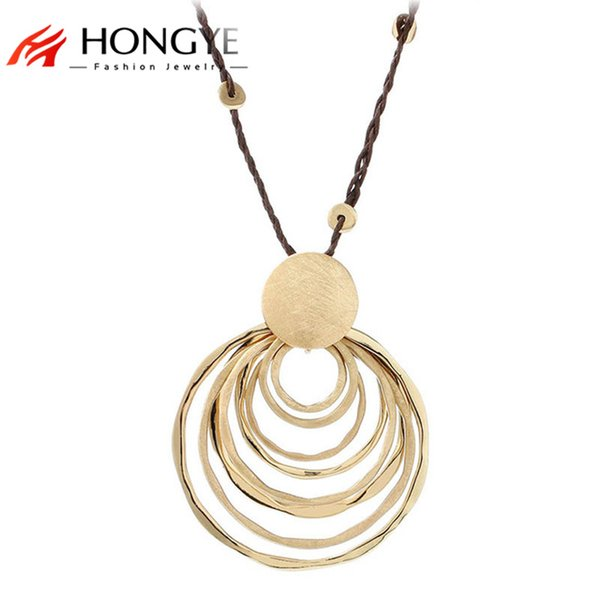 whole saleNew Charms Long Rope Chain Necklace Jewelry Gold-Color Polishing Multi-Circle Round Pendant Necklace Women Collares Largos