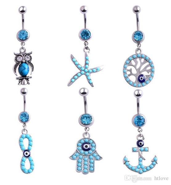 Adorável Azul Cristal Starfish Dangle Umbigo Cirúrgico Aço Inoxidável Moda Umbigo Para As Mulheres Da Barriga Piercing Jóia Do Corpo